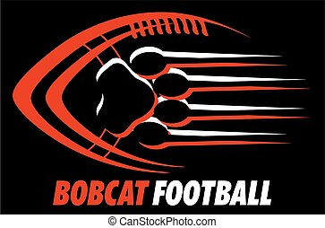 bobcat football team design with paw print for school, college or league