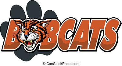 bobcat mascot design with paw print and cute bobcat head