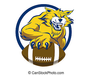 A growling bobcat with human like arms, digging his claws into a football and holding it out towards the viewer.