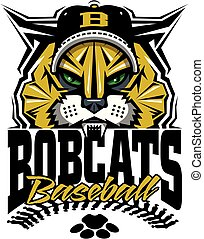 bobcats baseball team design with stitches and half mascot for school, college or league