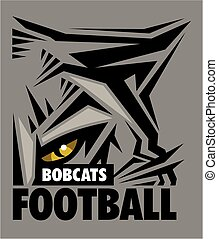 bobcats football team design with mascot eye black for school, college or league