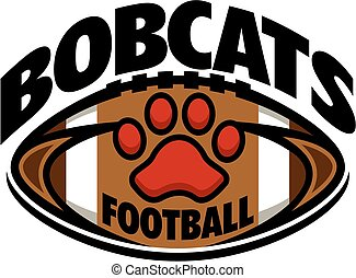 bobcats football team design with paw print inside ball for school, college or league