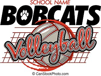 bobcats volleyball team design with ball and net for school, college or league