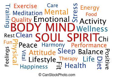 Body Mind Soul Spirit word cloud on white background