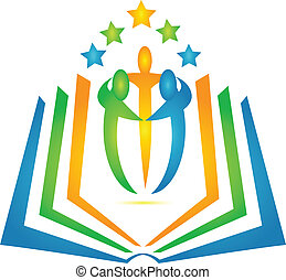 Book and students teamwork logo