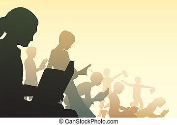 Editable vector illustration of children reading books