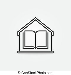 Book inside the House line icon. Home Education vector sign