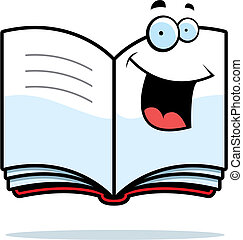 A cartoon open book happy and smiling.