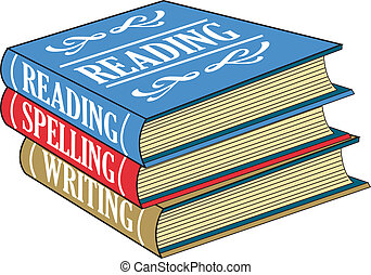 Books of reading, spelling and writing stacked on top of each other as if in a school or library.