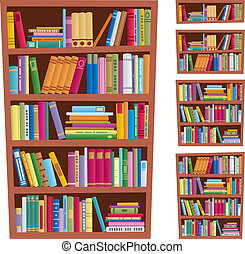 Cartoon illustration of bookshelf in 5 different versions. No transparency used. Basic (linear) gradients.