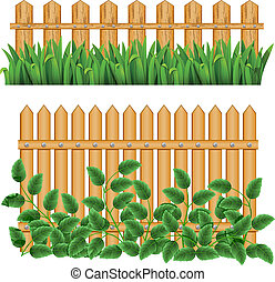 Border with fence and grass green. (can be repeated and scaled in any size)