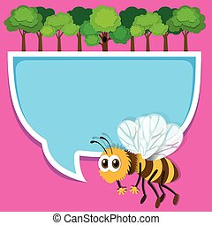 Border design with bee and trees