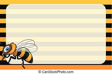Border design with yellow bee