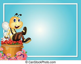Border template with bee sitting on roses