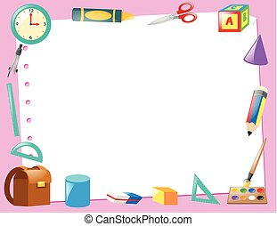 Border template with educational items