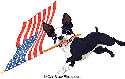 Boston Terrier Running Flag