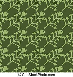 Botanic seamless pattern with pastel green floral silhouettes. Dark green background. Simple backdrop.