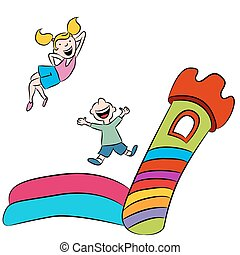 An image of children playing on a bounce house.