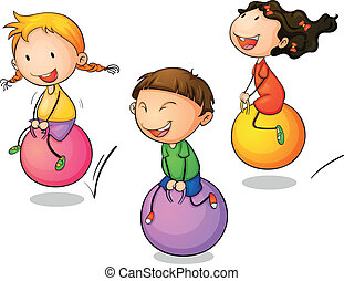 Illustration of three bouncing kids