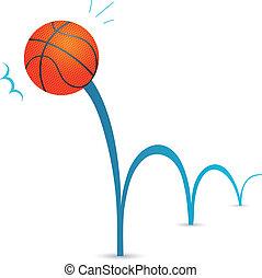 Bouncing basketball ball cartoon illustration
