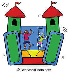 Cartoon illustration showing a couple of kids having fun in a bouncing castle