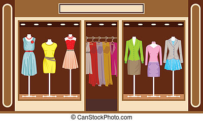 Image of women's clothing store, which is exhibited in the window