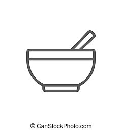 Bowl with spoon line icon.