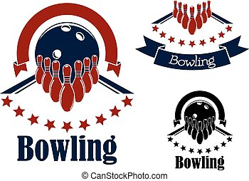Bowling badges or emblems in blue and red colors with bowling lanes, ninepins and balls adorned with stars semicircles and ribbon banners