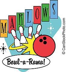 Bowling ball and pins retro clip art.