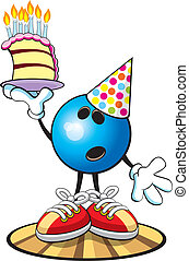A bowling ball character, ready for a birthday party!