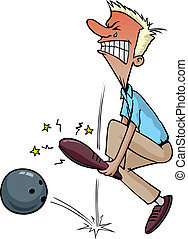 Cartoon of a bowler dropping the ball on his foot. Layered vector file.