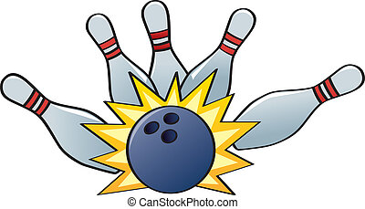 A bowling ball hitting the pins for a strike.