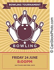 Bowling tournament poster template. Sport game contest event invitation sign or banner. Vector balls and skittle pins strike