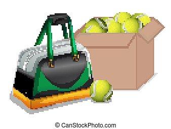 Box full of tennis balls on white background