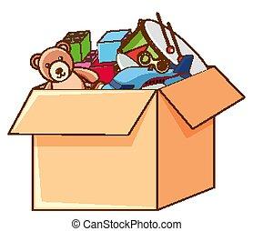 Box full of toys on white background