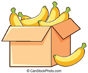 Box of bananas on white background