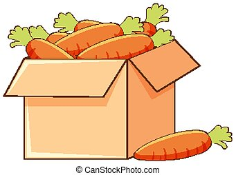 Box of carrots on white background