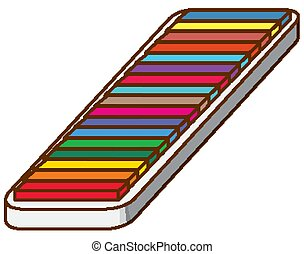 Box of colorful chalks on white background