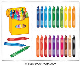 Big box of multicolor crayons for back to school, art projects, scrapbooks.