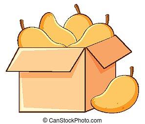 Box of mangoes on white background