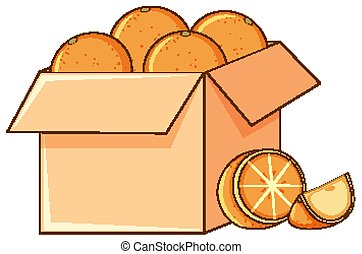 Box of oranges on white background