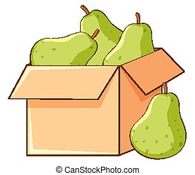 Box of pears on white background