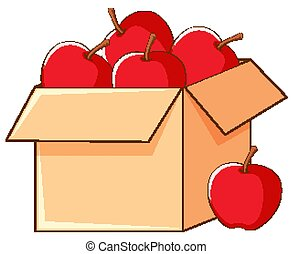 Box of red apples on white background