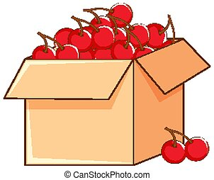 Box of red cherries on white background