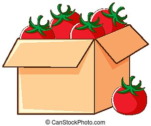 Box of tomatoes on white background