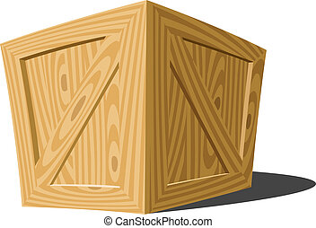 Wooden box on a white background, vector