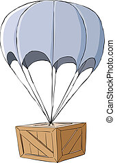 Wooden box with a parachute, vector illustration
