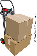 Boxes on hand pallet truck. Vector illustration