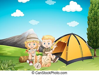 Boy and girl camping in the park