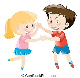 Boy and girl dancing together